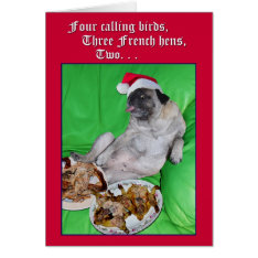 Funny Pug 12 Days Of Christmas Card By Opalakea at Zazzle