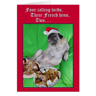 Funny pug 12 days of Christmas card by opalakea