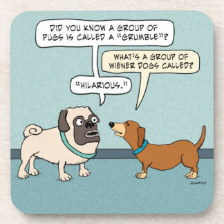 Funny Pug and Dachshund Beverage Coasters