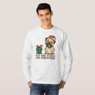 Funny Pug and Kisses Christmas   Sleeve Shirt