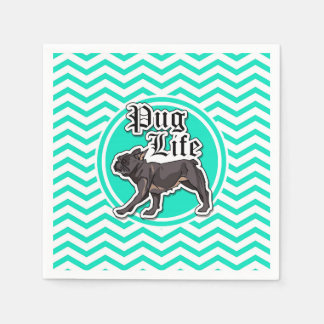 Funny Pug; Aqua Chevron Napkin