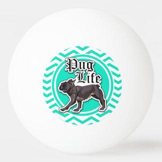 Funny Pug; Aqua Chevron Ping Pong Ball