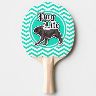 Funny Pug; Aqua Chevron Ping Pong Paddle