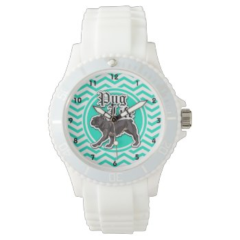 Funny Pug; Aqua Chevron Watches by doozydoodles at Zazzle
