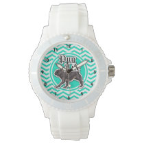 Funny Pug; Aqua Chevron Wrist Watch