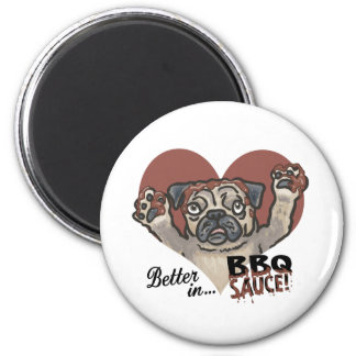 Funny Pug BBQ 2 Inch Round Magnet