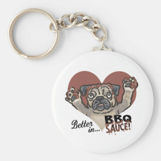 Funny Pug BBQ Basic Round Button Keychain