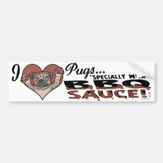 Funny Pug BBQ Bumper Sticker