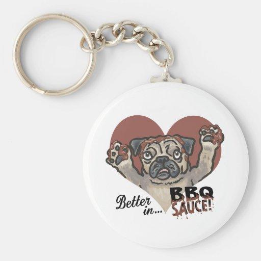 Funny Pug BBQ Keychains