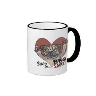 Funny Pug BBQ Ringer Mug