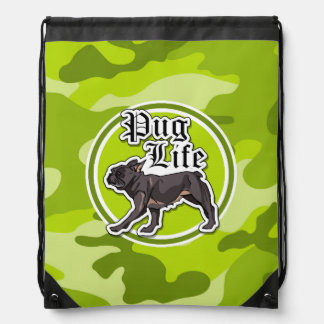 Funny Pug; bright green camo, camouflage Drawstring Backpack