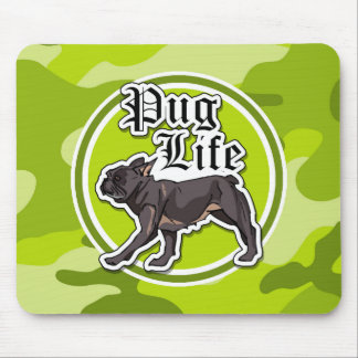 Funny Pug; bright green camo, camouflage Mouse Pads