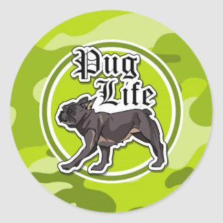 Funny Pug; bright green camo, camouflage Round Stickers