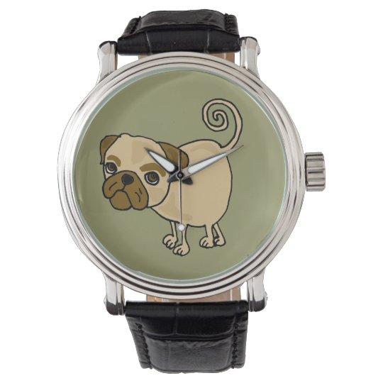 Funny Pug Cartoon Wristwatch