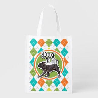 Funny Pug; Colorful Argyle Pattern Market Tote