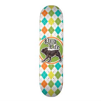 Funny Pug; Colorful Argyle Pattern Skateboard