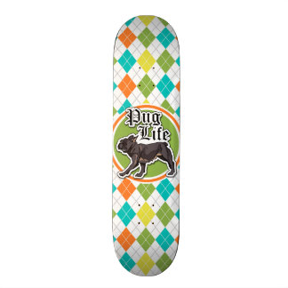 Funny Pug; Colorful Argyle Pattern Skateboard Deck
