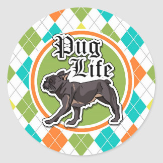 Funny Pug; Colorful Argyle Pattern Stickers
