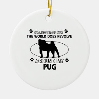 Funny Pug designs Double-Sided Ceramic Round Christmas Ornament