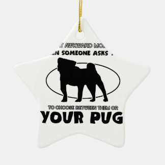 Funny pug designs Double-Sided star ceramic christmas ornament