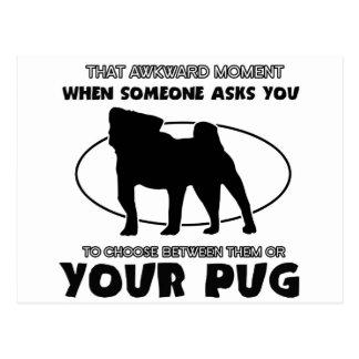 Funny pug designs postcard