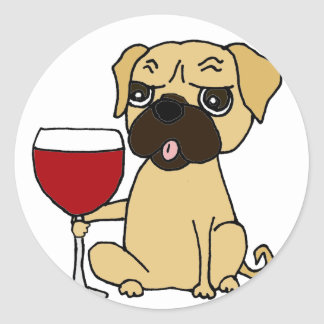 Funny Pug Dog Drinking Red Wine Classic Round Sticker