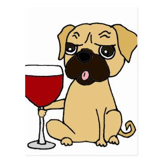 Funny Pug Dog Drinking Red Wine Postcard