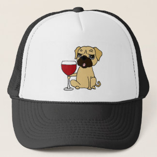 Funny Pug Dog Drinking Red Wine Trucker Hat