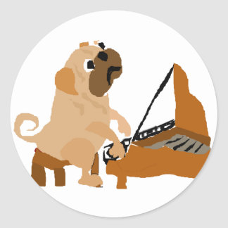 Funny Pug Dog Playing Piano Classic Round Sticker