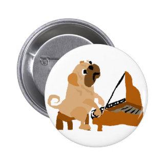 Funny Pug Dog Playing Piano Pinback Button