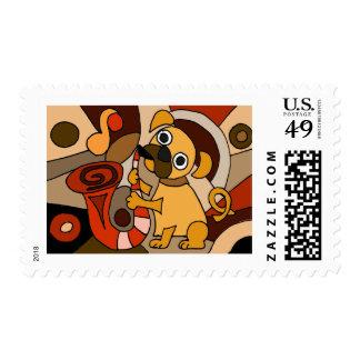 Funny Pug Dog Playing Saxophone Original Art Stamp