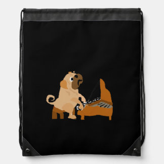 Funny Pug Dog Playing the Piano Backpack