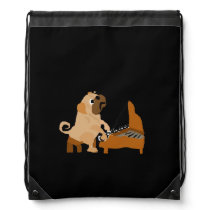 Funny Pug Dog Playing the Piano Drawstring Backpack