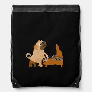 Funny Pug Dog Playing the Piano Drawstring Backpack