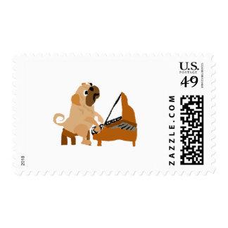 Funny Pug Dog Playing the Piano Postage