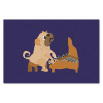 Funny Pug Dog Playing the Piano Tissue Paper