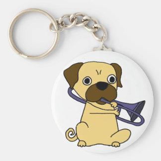 Funny Pug Dog Playing Trombone Keychain