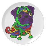 Funny Pug Dog Pop Art Melamine Plate