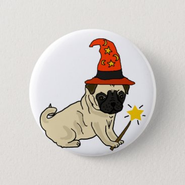 Halloween Themed Funny Pug Dog Witch or Wizard Halloween Artwork Button