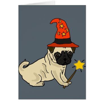 Halloween Themed Funny Pug Dog Witch or Wizard Halloween Artwork Card