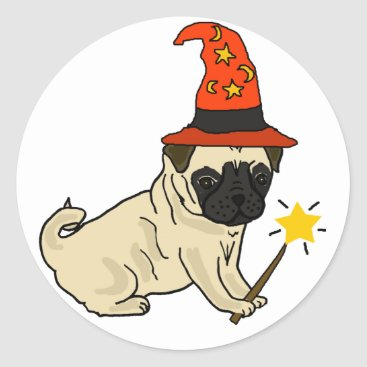 Halloween Themed Funny Pug Dog Witch or Wizard Halloween Artwork Classic Round Sticker