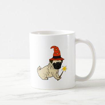 Halloween Themed Funny Pug Dog Witch or Wizard Halloween Artwork Coffee Mug