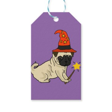 Halloween Themed Funny Pug Dog Witch or Wizard Halloween Artwork Gift Tags