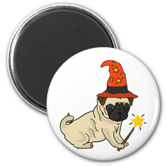 Funny Pug Dog Witch or Wizard Halloween Artwork Magnet