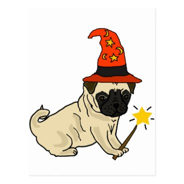 Halloween Themed Funny Pug Dog Witch or Wizard Halloween Artwork Postcard
