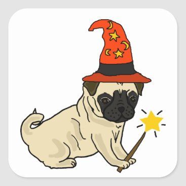 Halloween Themed Funny Pug Dog Witch or Wizard Halloween Artwork Square Sticker