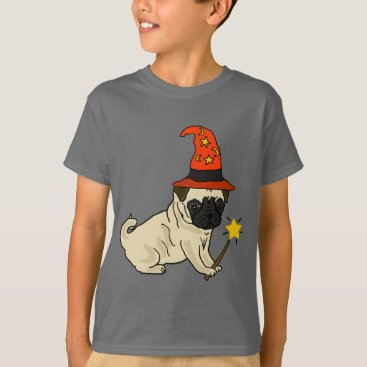 Halloween Themed Funny Pug Dog Witch or Wizard Halloween Artwork T-Shirt