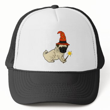 Halloween Themed Funny Pug Dog Witch or Wizard Halloween Artwork Trucker Hat