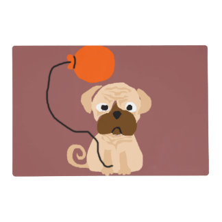 Funny Pug Dog with Balloon Placemat