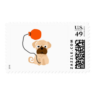 Funny Pug Dog with Balloon Postage Stamp